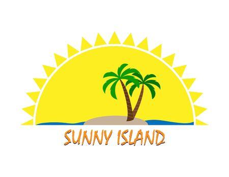 Sun icon and inscription Sunny Island, flat design, color image