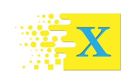 letter X on a colored square with destroyed blocks on a white background. Çizim