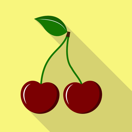 Two cherries on the peduncle with a leaf, a long shadow Stok Fotoğraf - 128687022