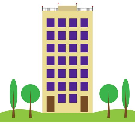 Urban landscape. High-rise building and the trees behind Illustration
