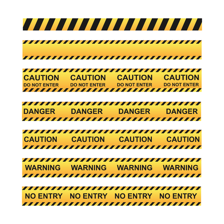 set of different tapes for fencing the territory with warning labels Çizim