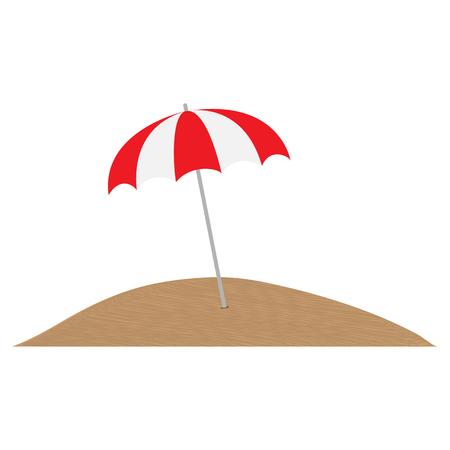 Multi-colored umbrella from the sun in the sand, simple design Illustration