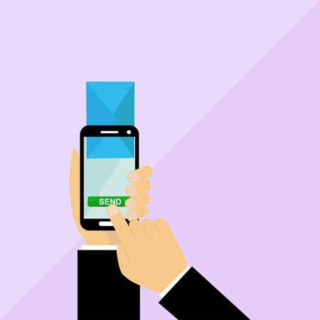hand presses a button to send an email. flat design Illustration