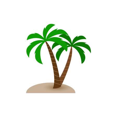 Two palm trees grow out of sand, simple flat design