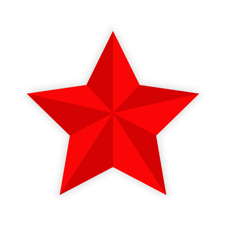 Red five-pointed star, white background, color image