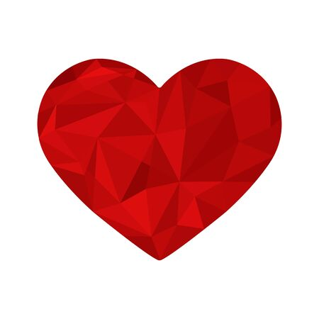 Silhouette of the heart in a polygon design, shades of red