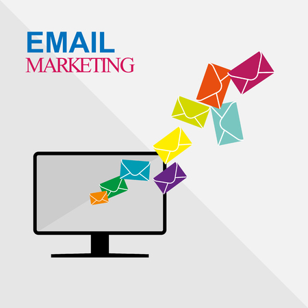 Email marketing from computer, mailing, simple flat design Çizim