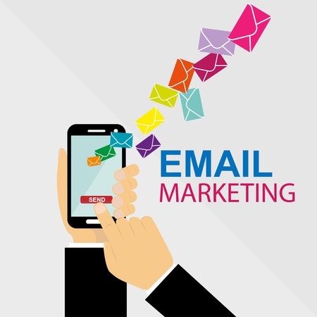 hand presses the send button for e-mailing. Email marketing from your smartphone.