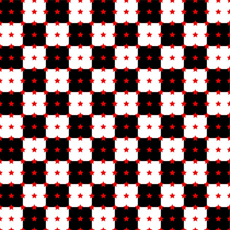 Abstract background with black and white squares and red five-pointed stars