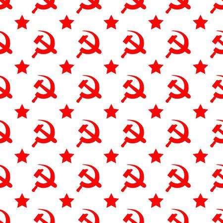Abstraktes nahtloses Muster mit rotem Stern, Hammer und Sichel Vektorgrafik