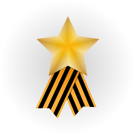 Gold star and St. George ribbon on white background