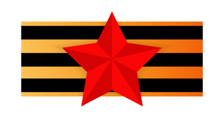 Red star on the background of St. George's ribbon, color image