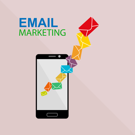 Email marketing with smartphone email sending, simple flat design Stok Fotoğraf - 128686930