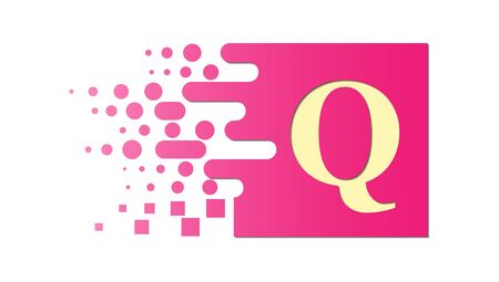letter Q on a colored square with destroyed blocks on a white background.