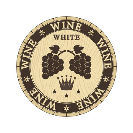 Wooden lid cap with white wine and grape bunches silhouettes, flat design