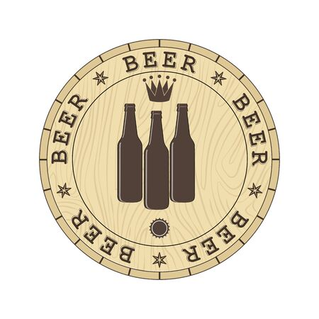 Lid of the barrel with the inscription beer and silhouettes of beer bottles, a simple flat design Ilustração