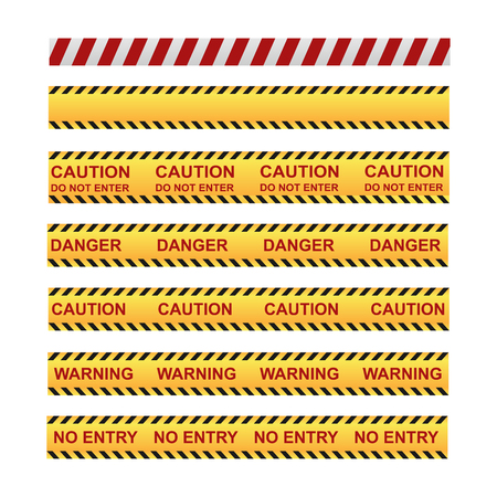 set of different tapes for fencing the territory with warning labels Ilustração