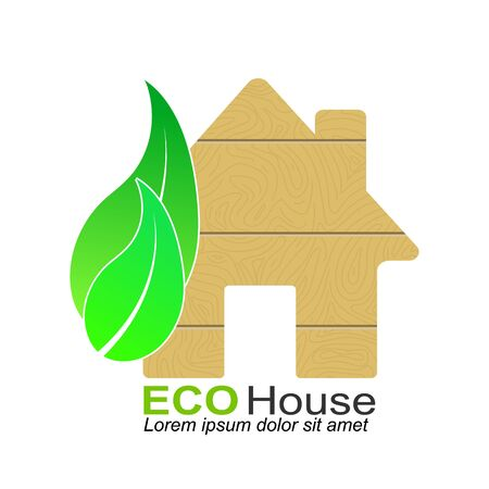 Simple icon with a silhouette of a house, leaves and the words ECO house