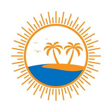 Simple round icon with palm tree and sea.