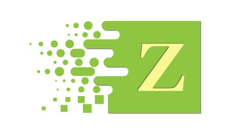 letter Z on a colored square with destroyed blocks on a white background. Illustration