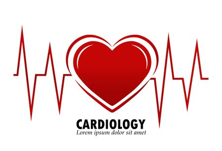 Cardiology, heart silhouette with heart rate, simple design for icon