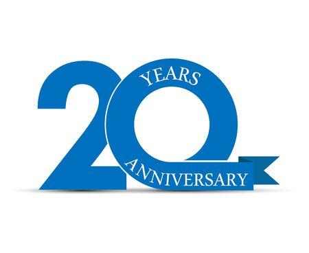 20 Jahre Jubiläum, schlichtes Design, Symbol zur Dekoration Vektorgrafik