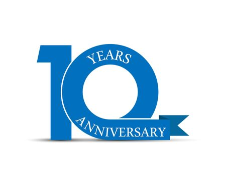 10 years anniversary, simple design, icon for decoration