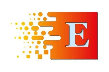letter E on a colored square with destroyed blocks on a white background. Illustration