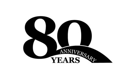 80 years anniversary, simple flat design, icon for design and decoration Çizim