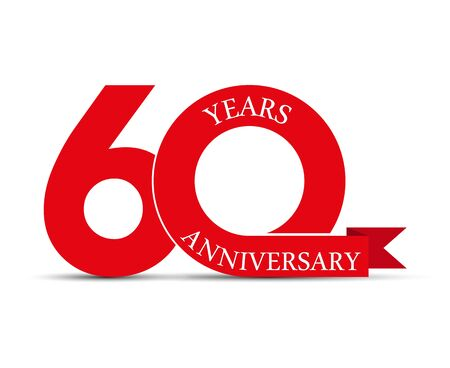 60 years anniversary, simple design, icon for decoration Stok Fotoğraf - 128686602