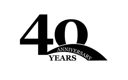 40 years anniversary, simple flat design, icon for design and decoration Stok Fotoğraf - 128686599
