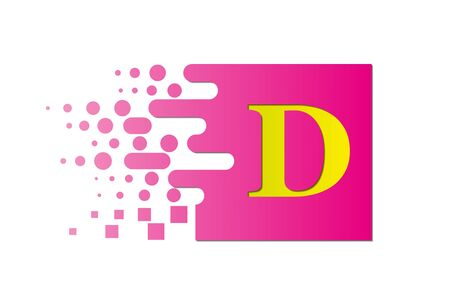 letter D on a colored square with destroyed blocks on a white background. Illustration