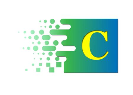 letter C on a colored square with destroyed blocks on a white background.