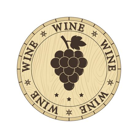 Wooden lid cap with wine inscription and bunches of grapes, flat design