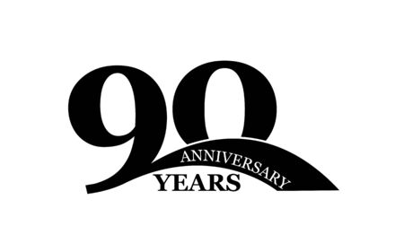 90 years anniversary, simple flat design, icon for design and decoration