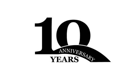 10 years anniversary, simple flat design, icon for design and decoration Çizim