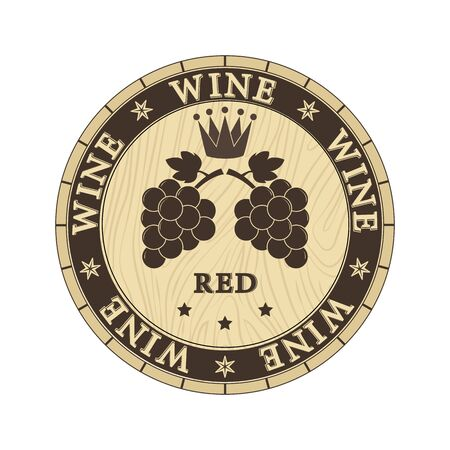 Cap of wooden barrel with the inscription red wine and silhouettes of a bunch of grapes, flat design