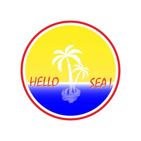 Simple icon with a palm tree and the inscription Hello Sea Illustration