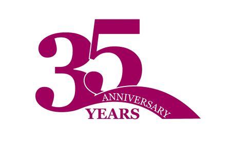 35 years anniversary, flat simple design, icon Ilustração