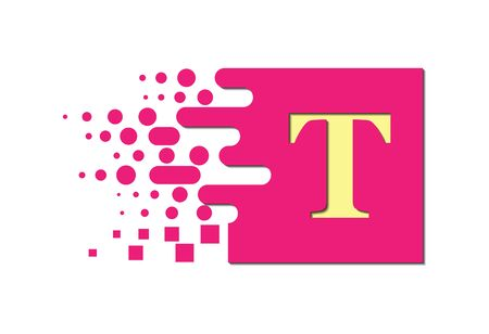 letter T on a colored square with destroyed blocks on a white background. Stok Fotoğraf - 128686824