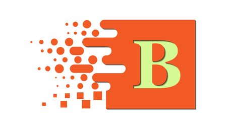 letter B on a colored square with destroyed blocks on a white background.