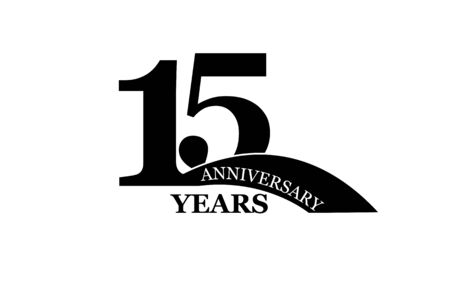 15 years anniversary, flat simple design, icon Illustration
