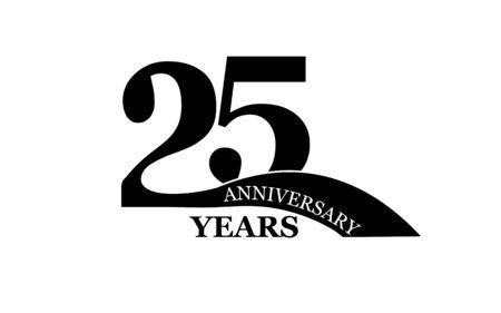 25 years anniversary, flat simple design, icon Ilustração