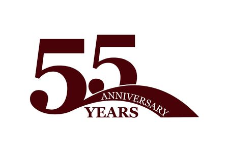 55 years anniversary, flat simple design, icon Ilustração
