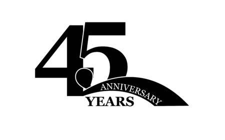 45 years anniversary, flat simple design, icon Ilustração