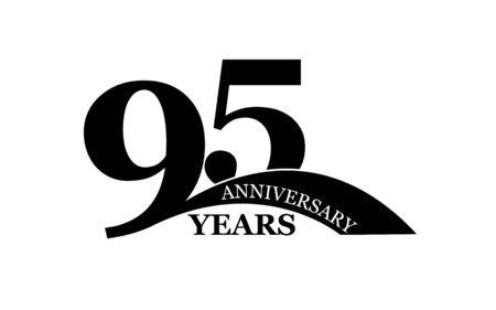 95 years anniversary, flat simple design, icon