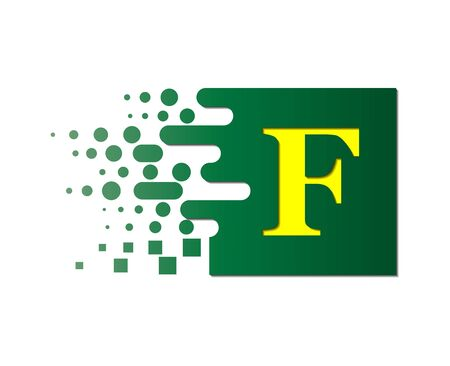 letter F on a colored square with destroyed blocks on a white background.