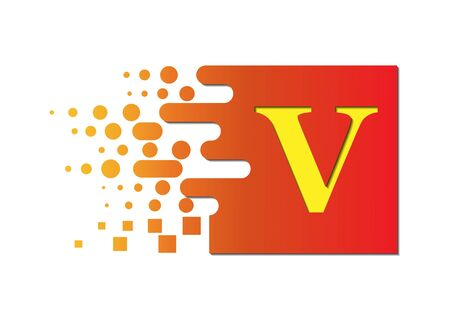 letter V on a colored square with destroyed blocks on a white background.