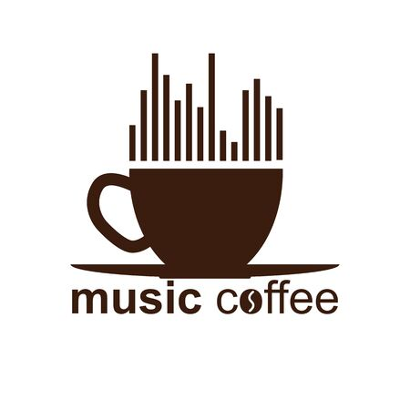 Simple music coffee, flat design for decoration