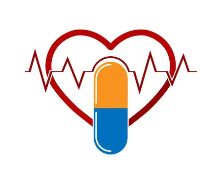 Silhouette of the heart with the ECG and capsule medications, flat design Çizim